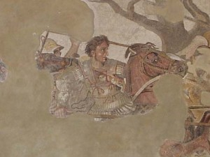A detail from a famous mosaic from Pompei celebrating Alexander the Great's victory over the Persians