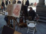 An artist and his dog at the Uffizi