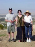 Brian, Aviva and Lil - Lil's holding a walking stick made from Aviva's other brother Howard's tree from his yard