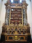 A whole cabinet of relics (bones of saints, etc.)