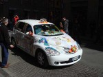 A decorated taxi