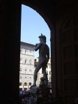 This is a copy of Michelangelo's David - the original once stood here and now is in the Academia