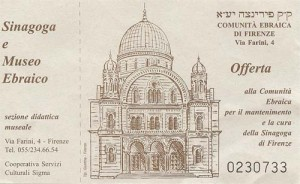 Ticket for the Florence Synagogue