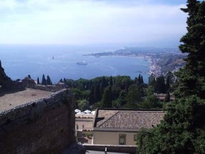 The harbor at Taormina from the top of the theatre