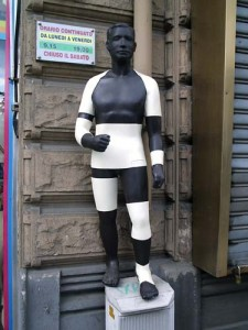 A figure outside the medical supply we found