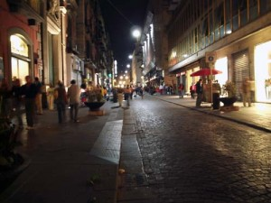 A view of Via Toledo at night on Sunday - note how many people are just out strolling, which is a popular thing to do in Naples