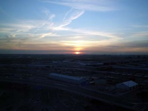 Sunset from our window at the Sheraton at Schiphol Airport