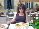 Aviva with her pizza