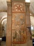 A fresco on a column in the crypt