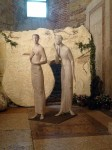 Two modern sculptures on the way out of the crypt