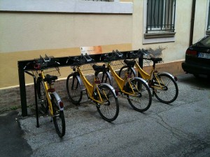 A bicycle rental stand - bicycles are used all over the place