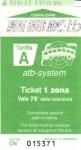 Front of bus ticket to Bergamo