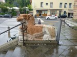 A cool griffon sculpture out front of the church