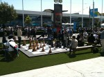 There was a large chess set on the plaza