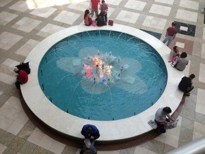 A fountain inside a mall in Koreatown