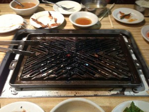 The grill in our table at dinner