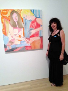 Aviva with a painting at Made in LA 2014
