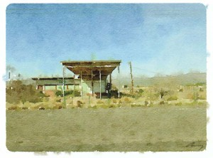 "TX Gas Station, Anne M. Bray, Digital watercolor on aluminum, 5"" x 7"""