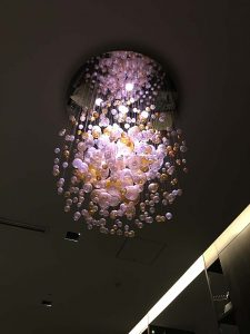 A cool ceiling lamp at the hotel