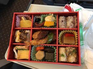 Aviva's bento box on the train to Kyoto