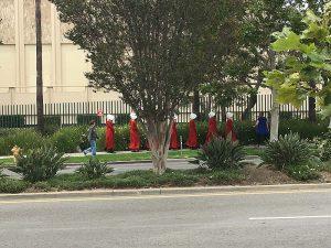 Some handmaids walking outside LACMA