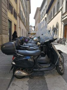 A line of scooters